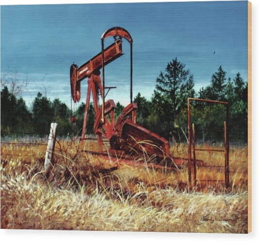 Rusty Pump Jack Wood Print