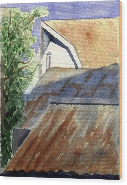 Wood Print featuring the painting Rusty Roofs by Jane Croteau