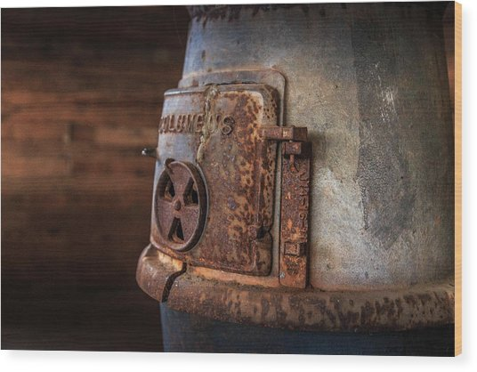 Rusty Stove Wood Print