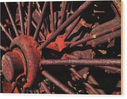 Rusty Wheel Wood Print