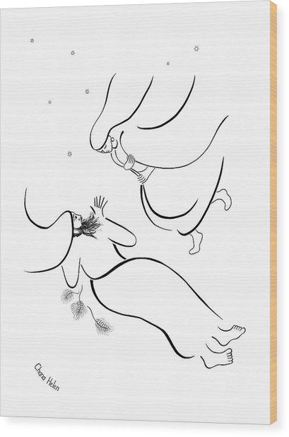 Ruth Comes To Boaz Wood Print by Chana Helen Rosenberg