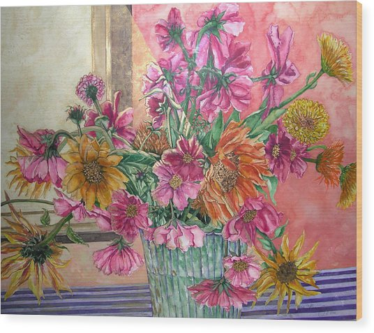 Ruth's Bouquet Wood Print by Caron Sloan Zuger