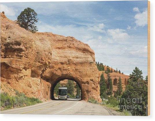 Rv Red Canyon Tunnel Utah Wood Print