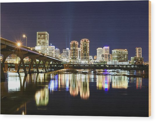 Rva Night Lights Wood Print
