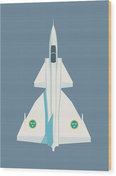 Saab 37 Viggen Swedish Air Force Fighter Jet Aircraft - Slate Wood Print