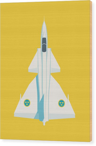 Saab 37 Viggen Swedish Air Force Fighter Jet Aircraft - Yellow Wood Print