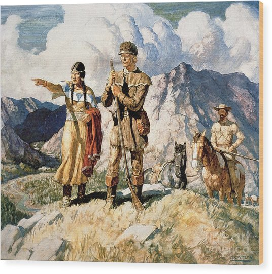 Sacagawea With Lewis And Clark During Their Expedition Of 1804-06 Wood Print