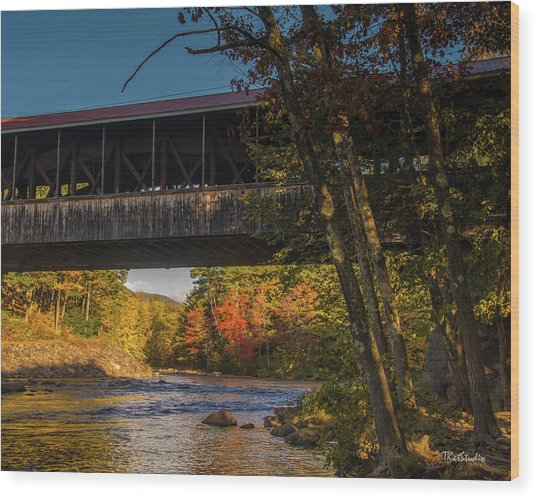 Saco River Covered Bridge Wood Print