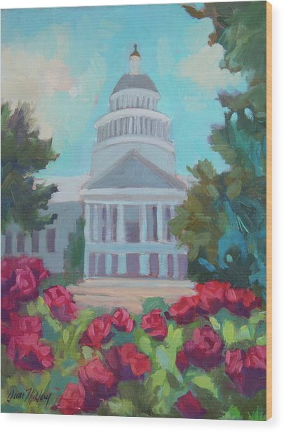 Sacramento Capitol And Roses Wood Print