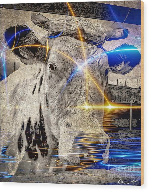 Wood Print featuring the digital art Sacred Cow by Eleni Mac Synodinos