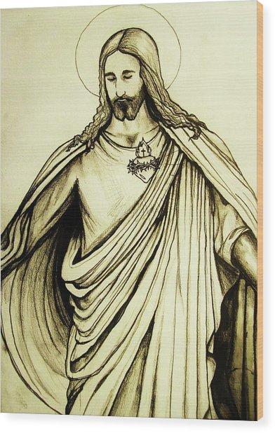 Sacred Heart Wood Print