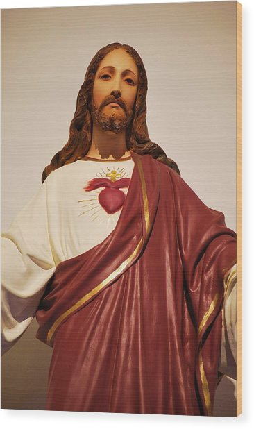 Sacred Heart Of Christ Wood Print by Michelle Hastings