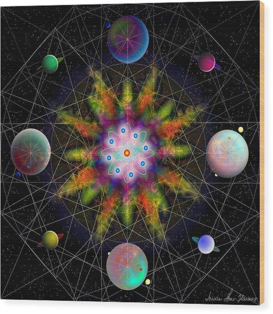 Sacred Planetary Geometry - Dark Red Atom Wood Print