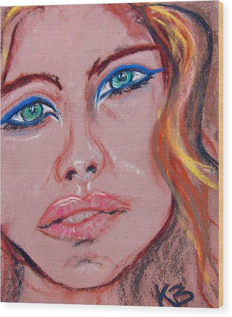 Sad Blue Eyes-framed Wood Print