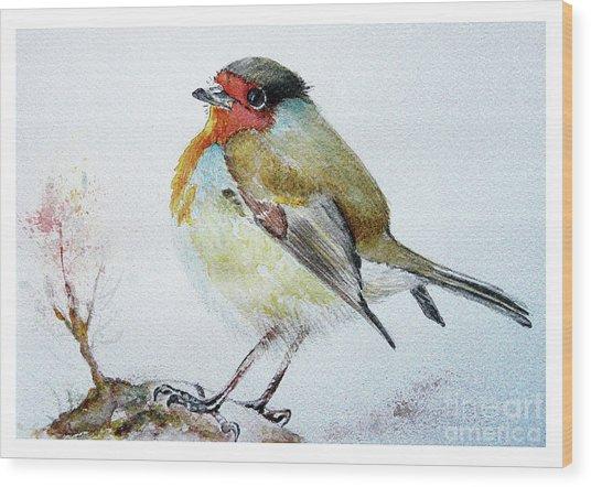 Sad Robin Wood Print