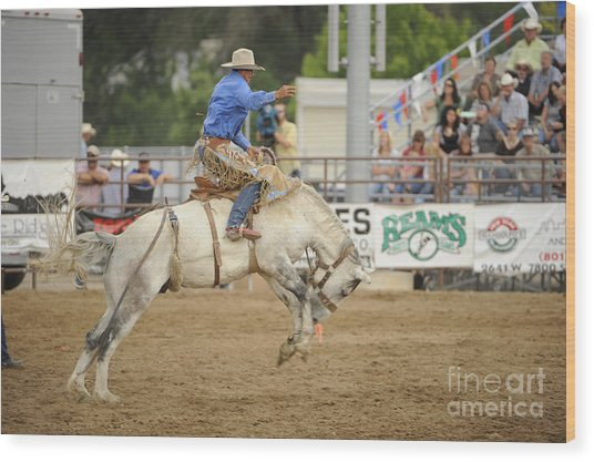 Saddle Bronc Wood Print by Dennis Hammer