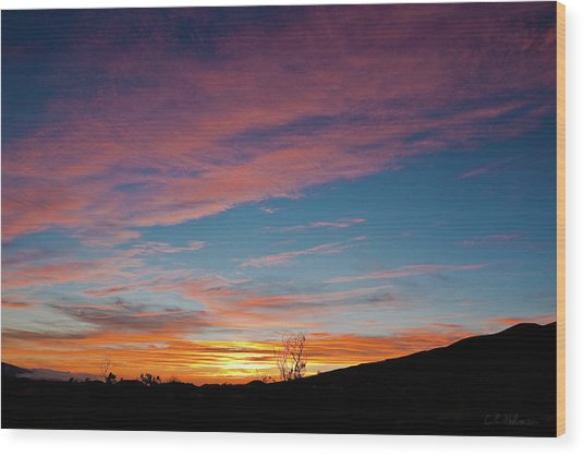 Saddle Road Sunset Wood Print