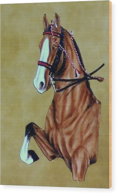 Saddlebred Wood Print by Lilly King