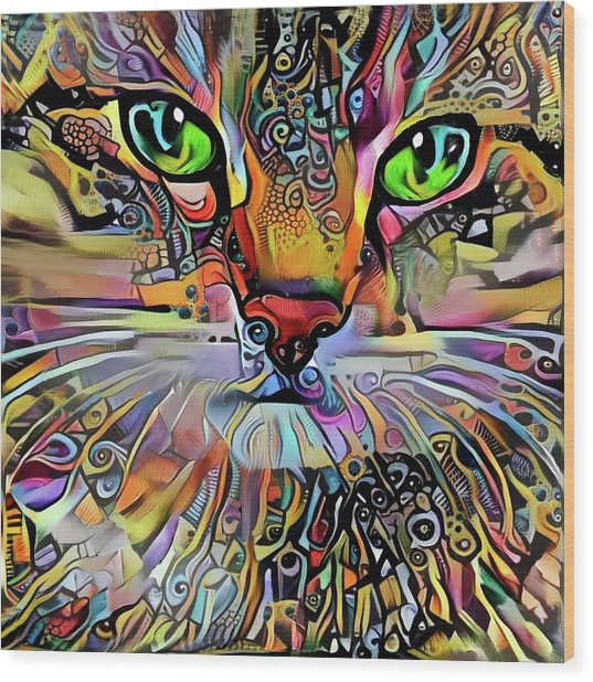 Sadie The Colorful Abstract Cat Wood Print
