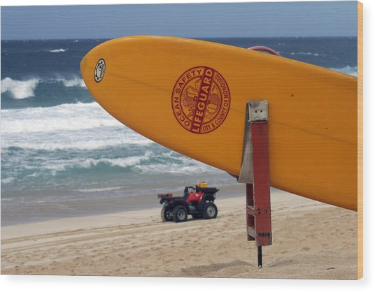 Safety First, Oahu Wood Print