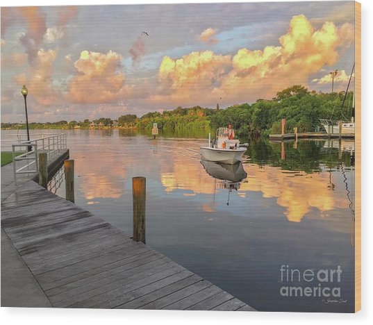 Safety Harbor Fisherman  Wood Print