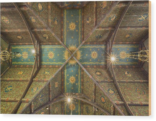 Sage Chapel Ceiling #1 - Cornell University Wood Print
