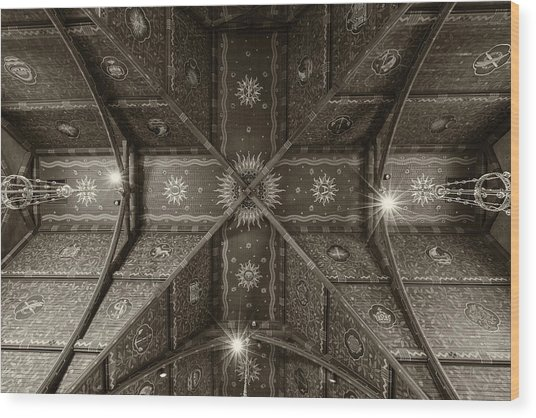 Sage Chapel Ceiling #2 - Cornell University Wood Print