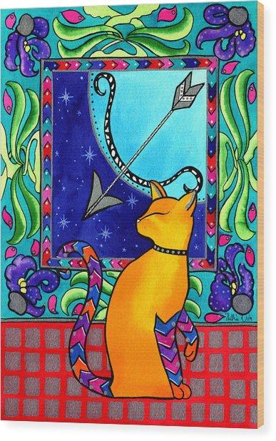 Sagittarius Cat Zodiac Wood Print