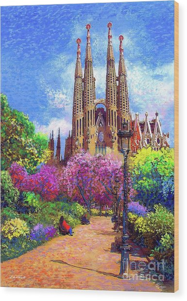 Sagrada Familia And Park Barcelona Wood Print