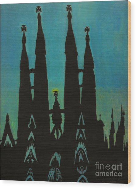 Sagrada Shadows Wood Print