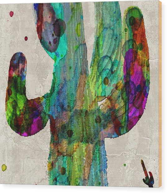 Saguaro Cactus Rainbow Print Poster Wood Print