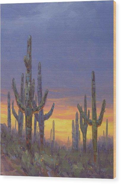 Saguaro Mosaic Wood Print