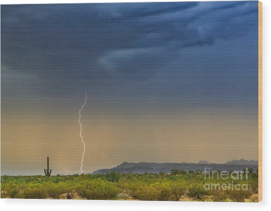 Saguaro With Lightning Wood Print