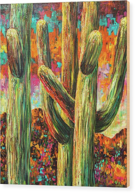 Saguaros At Sunset Wood Print