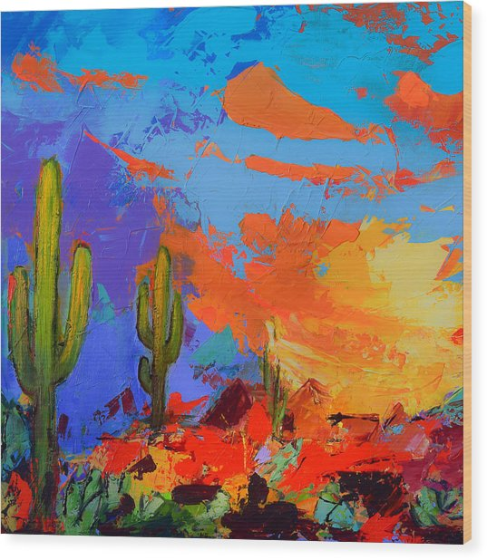 Saguaros Land Sunset By Elise Palmigiani - Square Version Wood Print