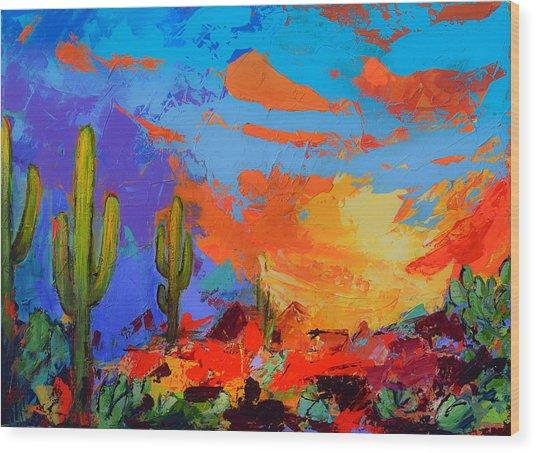 Saguaros Land Sunset Wood Print