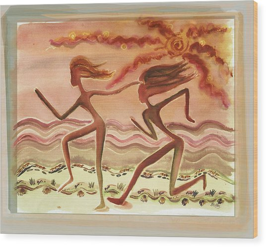 Saharan Runners Wood Print