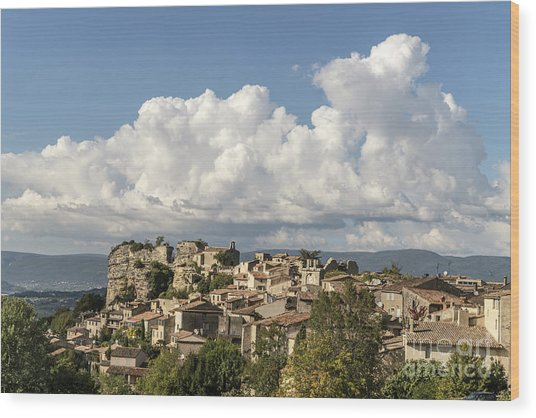Wood Print featuring the photograph Saignon Village Provence  by Juergen Held