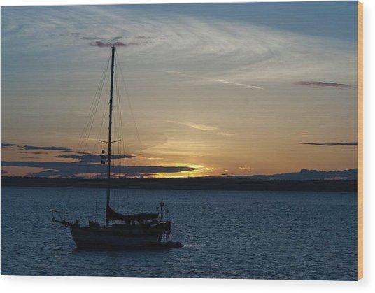 Sail Boat At Sunset Wood Print