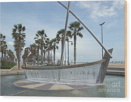 Sail Boat Fountain In Valencia Wood Print