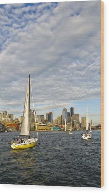 Sail On Seattle Wood Print by Tom Dowd