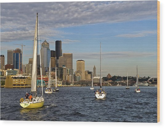 Sail Seattle Wood Print by Tom Dowd