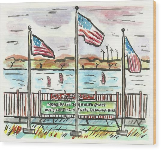Sailboard Beach Wood Print by Matt Gaudian
