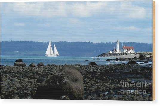 Sailboat And Lighthouse Wood Print