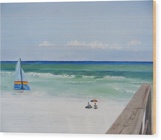 Sailboat At Blue Mountain Beach Wood Print by John Terry