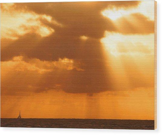 Sailboat Bathed In Hazy Rays Wood Print