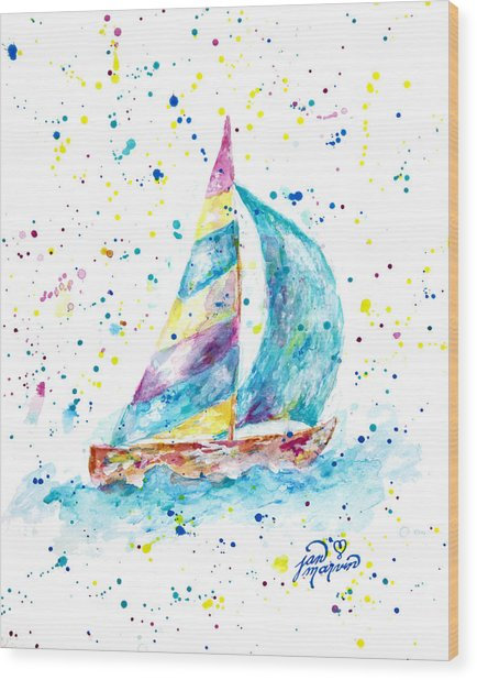 Sailboat By Jan Marvin Wood Print