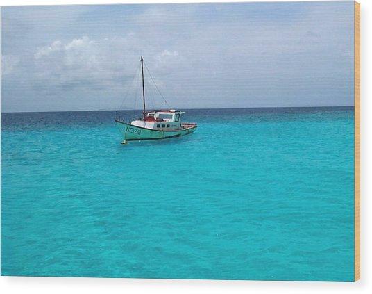 Sailboat Drifting In The Caribbean Azure Sea Wood Print