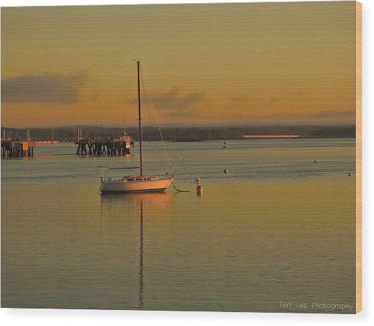 Sailboat Glow Wood Print