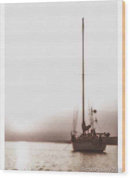 Sailboat In Fog Wood Print